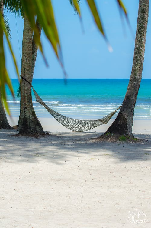 Free stock photo of beach, hammocks, sea