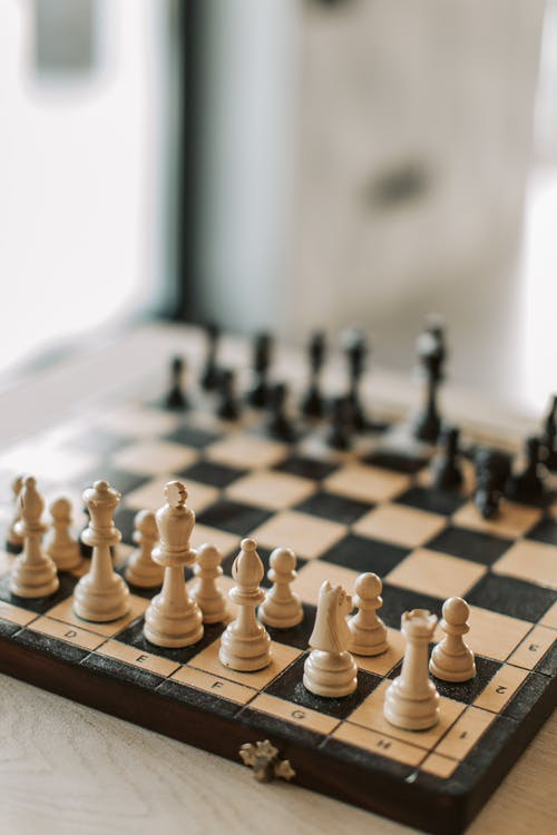 Black and White Chess Piece on Chess Board