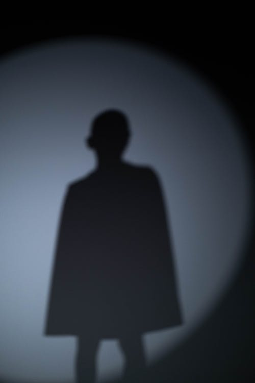 Silhouette of Man Standing on White Background
