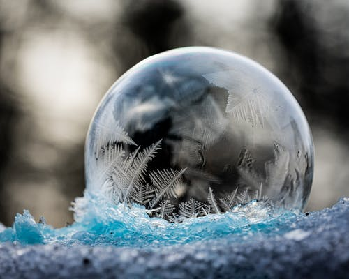 Frozen clean transparent bubble with patterns on ice in winter forest on blurred background