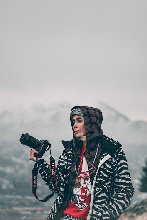 Free stock photo of girl, mountain, photographer, snow