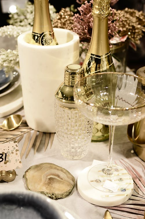 Alcoholic drinks on table during festive occasion