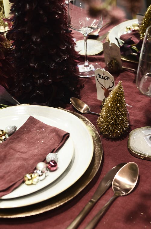Served table with New Year decor in restaurant