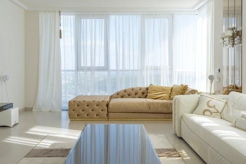 Light and modern interior of big living room