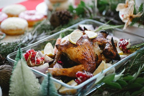 Roasted Chicken on White Ceramic Plate