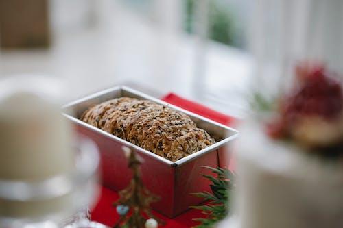 Sweet tasty Christmas cake in baking dish