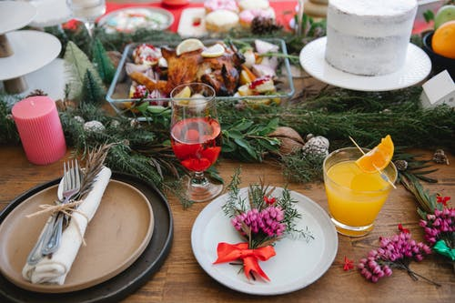 Festive served table with decorations