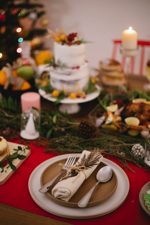 Served table with delicious food during Christmas holiday at home