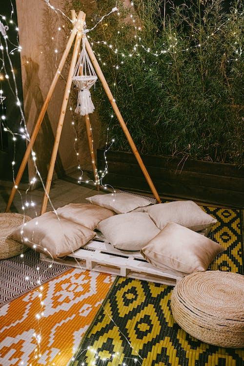 2 White Pillows on Hammock