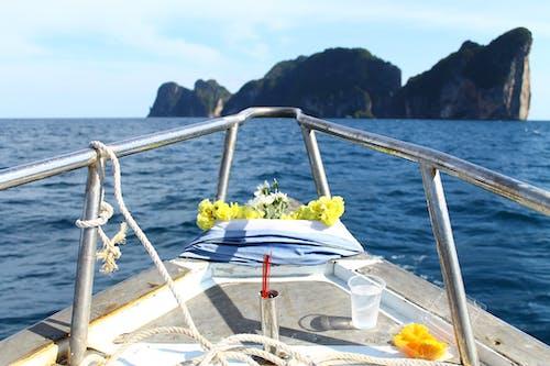 Free stock photo of beautiful flowers, blue water, boat, devotion