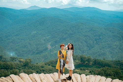 Full body of happy young ethnic female travelers in stylish dresses smiling while standing on viewpoint in picturesque mountain valley covered with lush green trees