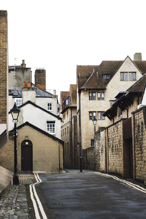 Narrow street near old residential buildings