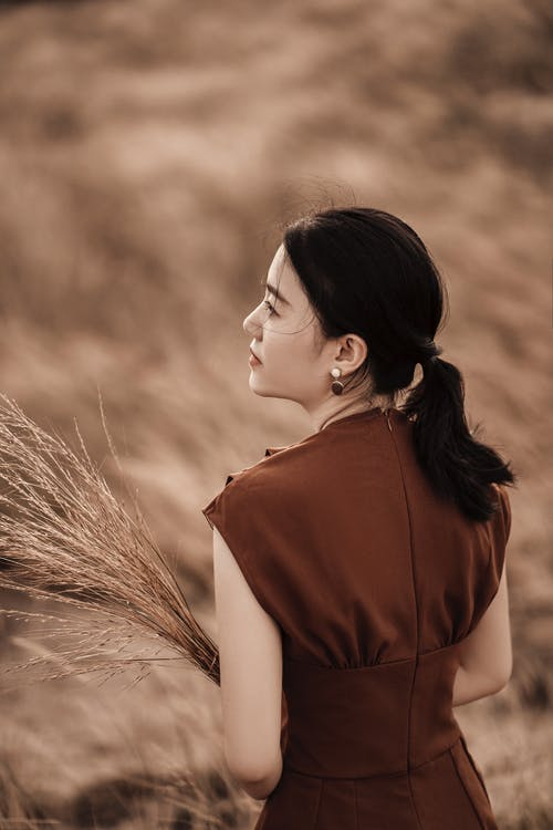 Back view of charming ethnic female in stylish wear looking away on meadow in daytime