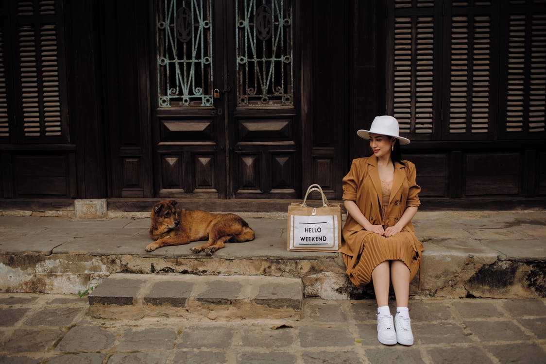 Young content ethnic female tourist in stylish apparel looking away near street dog while sitting on pavement in town