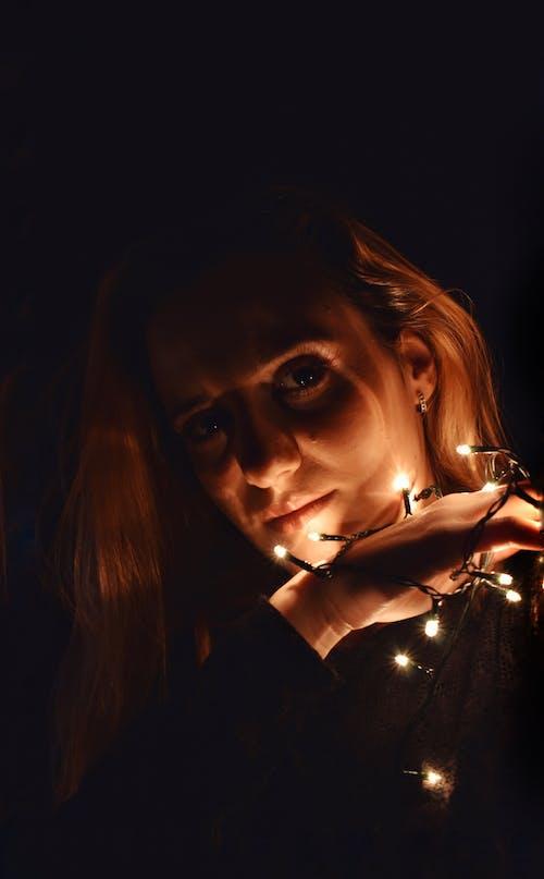 Free stock photo of aesthetic, female portrait, lights