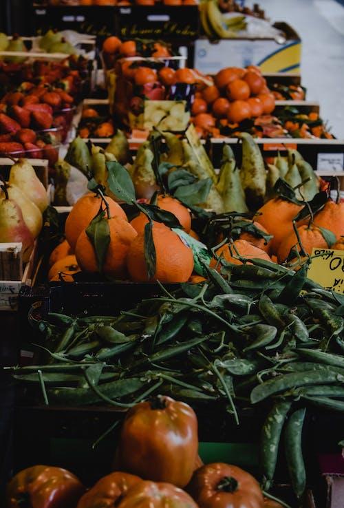 디스플레이에 녹색과 주황색 야채