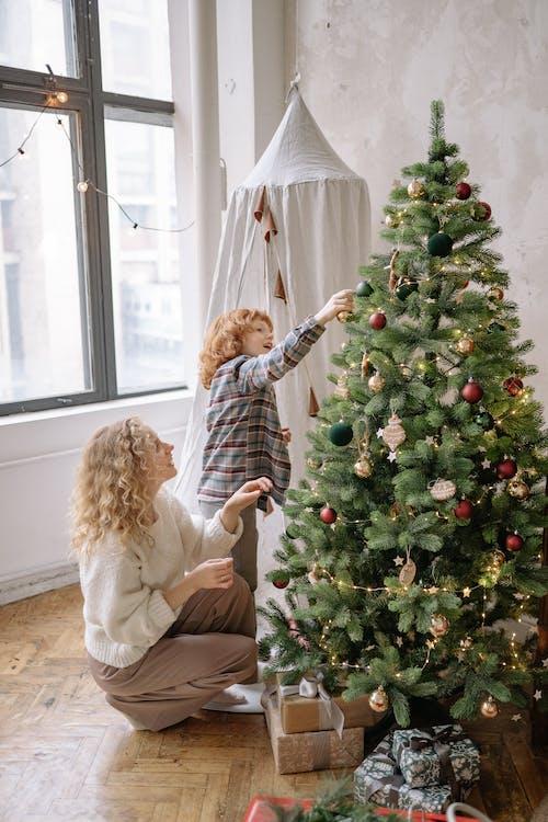 Ingyenes stockfotó ajándék, anya és fia, család, dekoráció témában