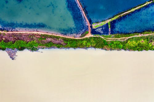 Drone view of river streams separated by embankments with road and green plants