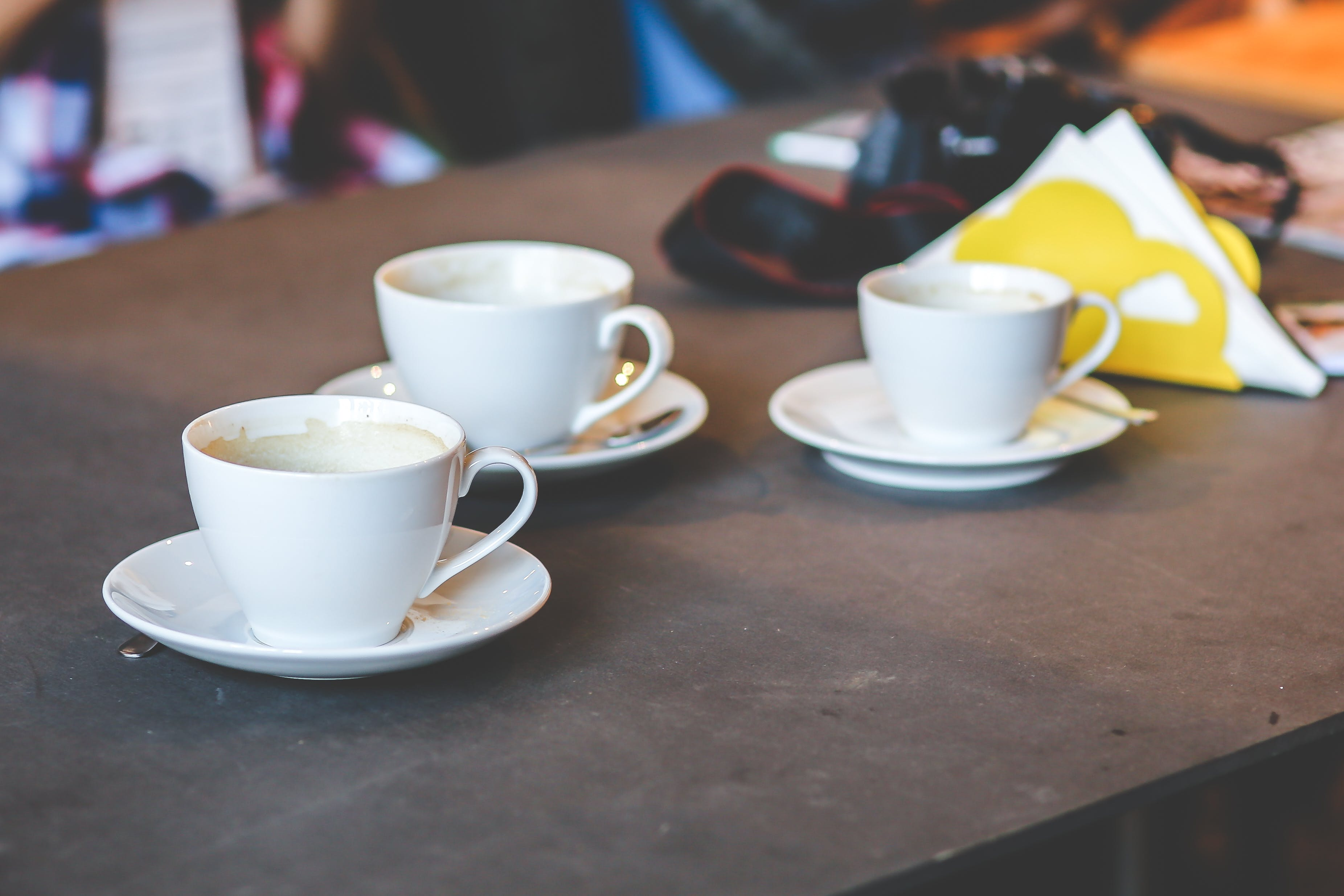 Three white cups