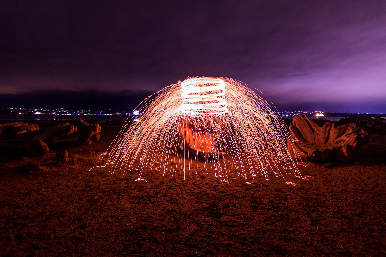 Steel Wool Photography on Seashore
