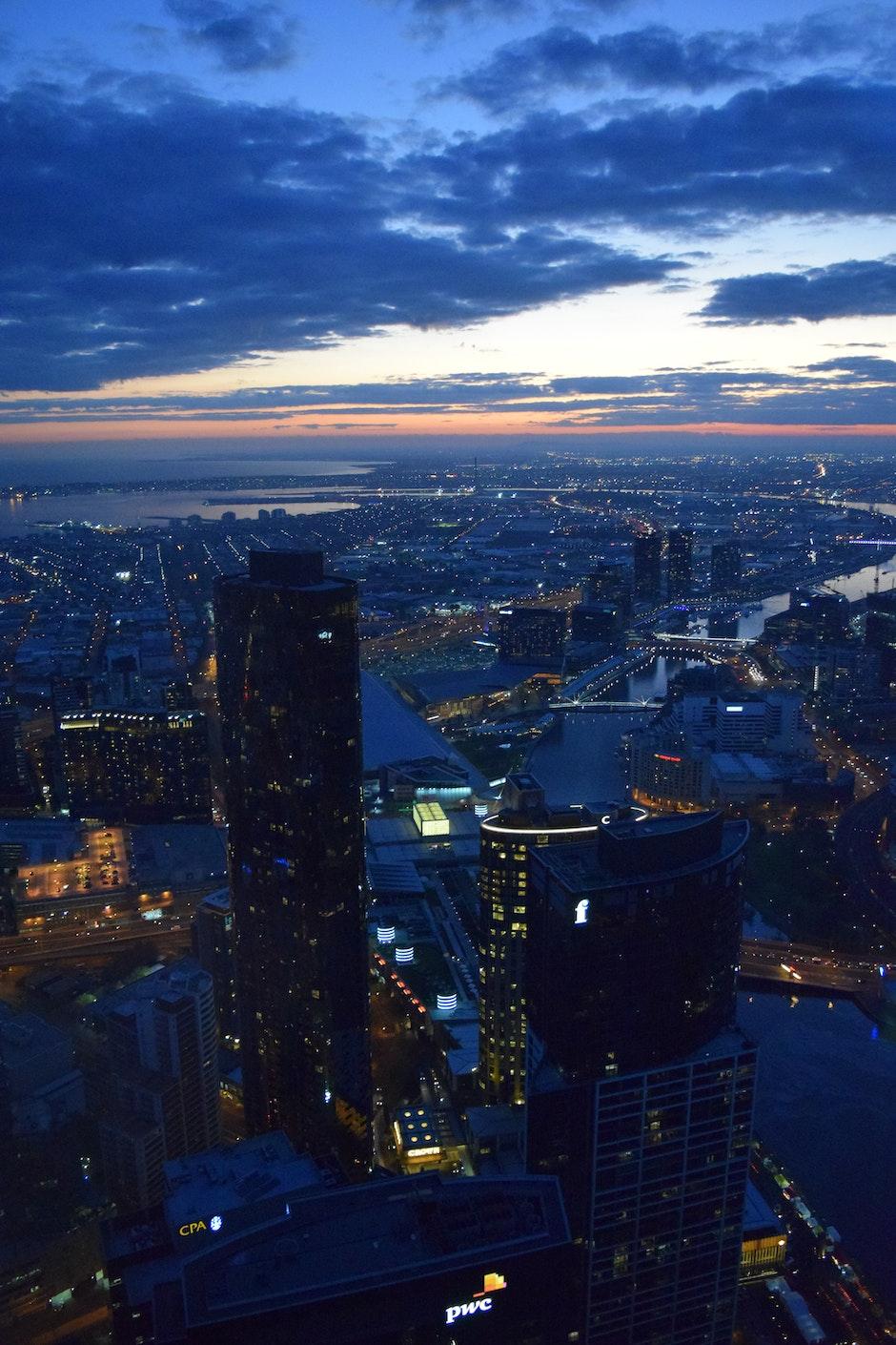 buildings, city, city lights