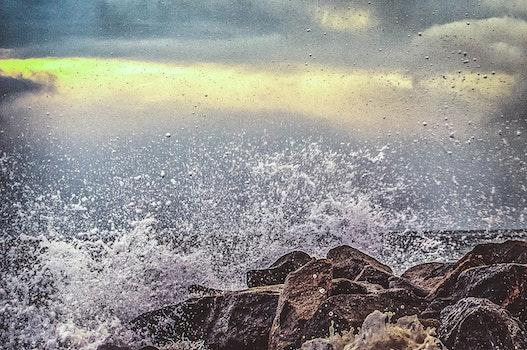 Water Splashing on Seashore