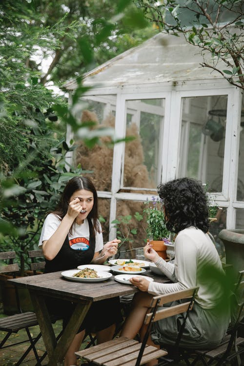 Female gardeners eating lunch at table in backyard