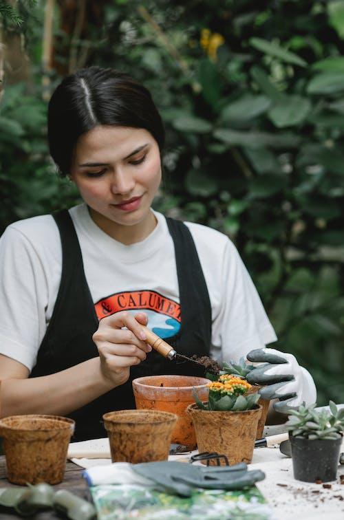 Female farmer working with plants in garden