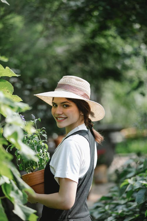 Back view of positive female horticulturist in straw hand carrying potted blooming plant and smiling at camera