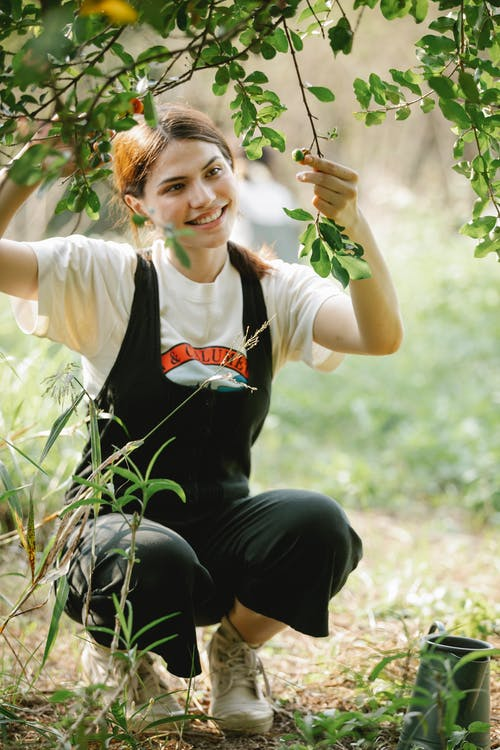 Full length of smiling young woman in overall touching tree branch with green leaves near pot on grassy meadow in sunny summer day in nature