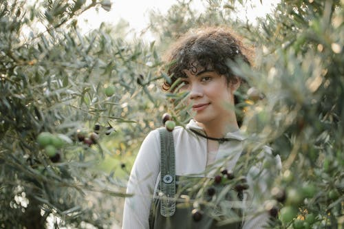Smiling ethnic grower among olive trees on farmland