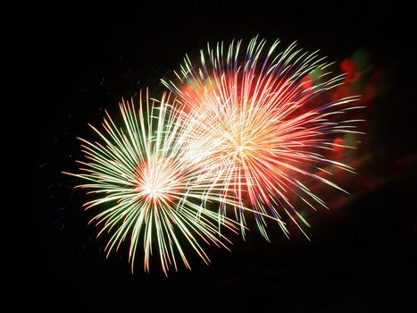 White Red and Green Fireworks