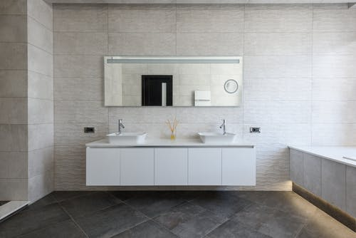 Stylish and simple bathroom in modern apartment