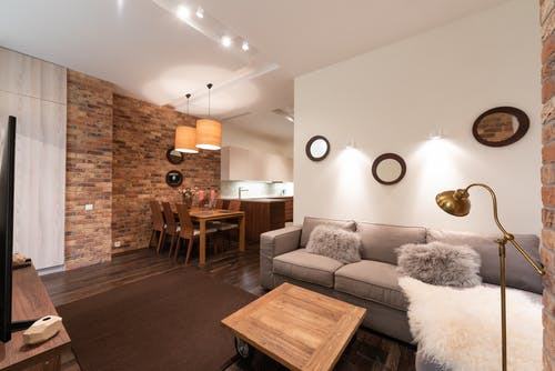 Modern bright house interior with furniture