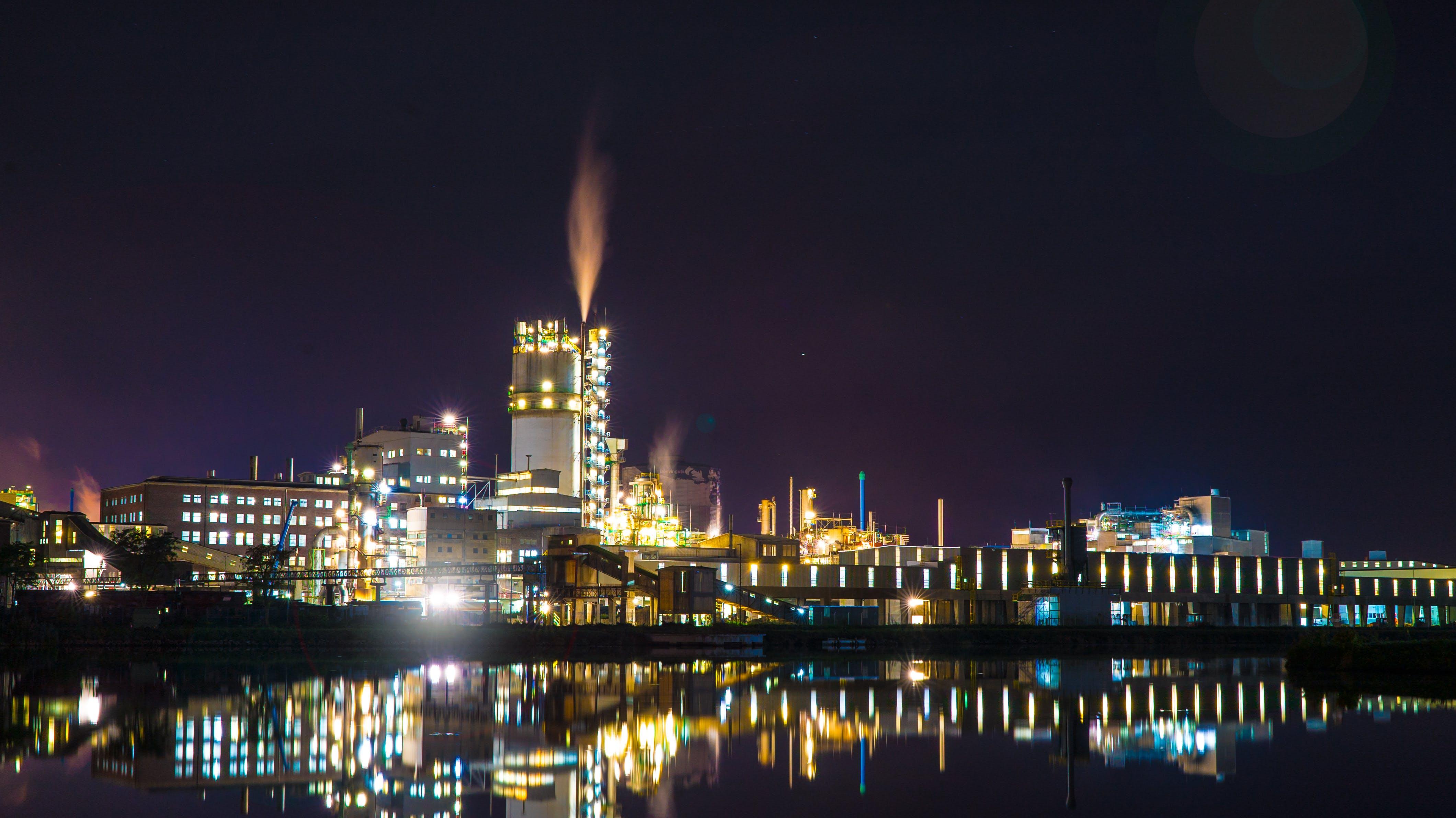 Free stock photo of night, power plant, chimney, mirroring