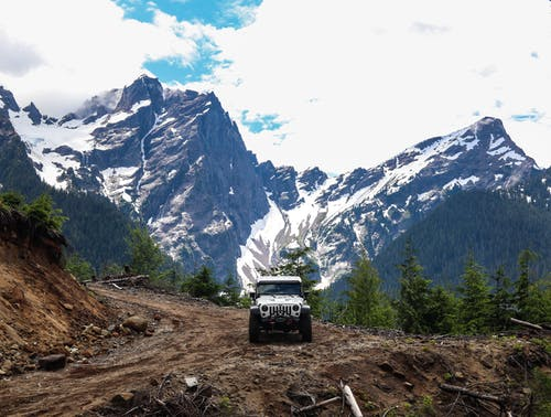 Black Suv on Dirt Road Near Snow Covered Mountains