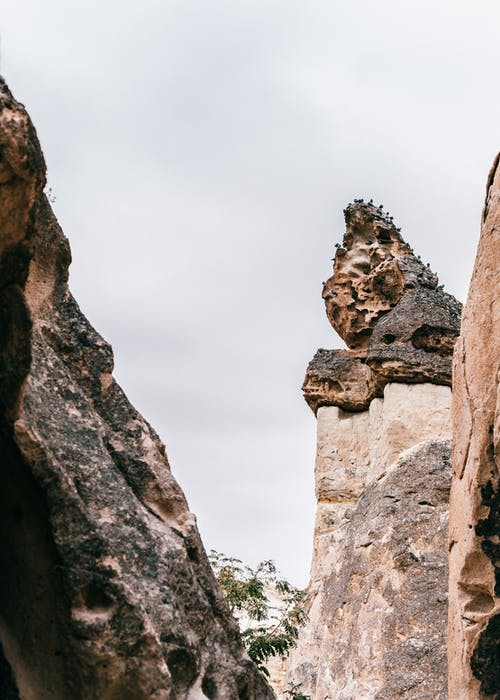 Rocky formation on high rough mountain