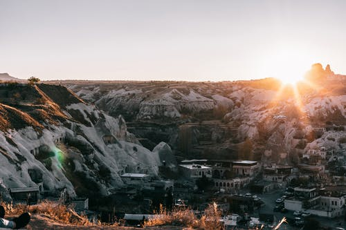 Scenic scenery of residential district of Goreme town among cliffs located in medieval area of Turkey
