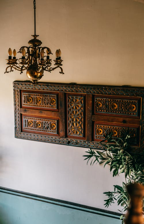 Vintage interior with wooden element on wall