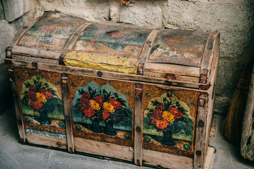 Ornamental old chest on ground