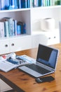 smartphone, desk, laptop