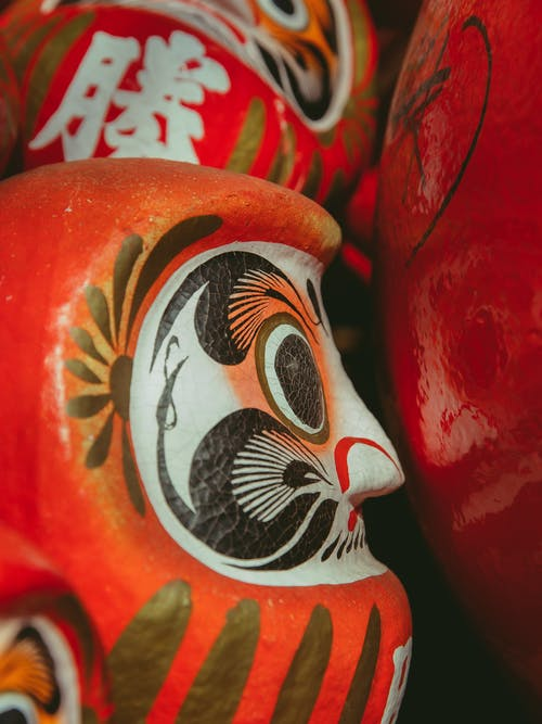 Traditional red painted daruma doll