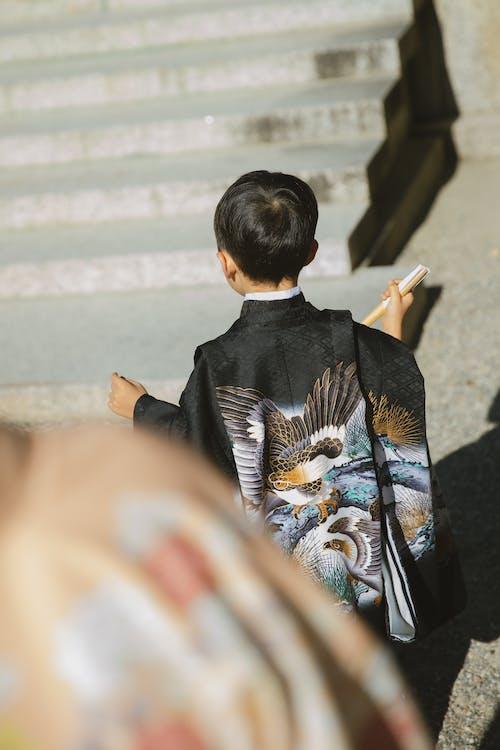Japanese boy in traditional kimono