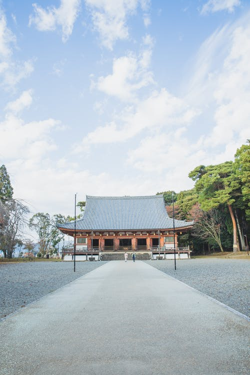 Old Buddhist temple under cloudy sky