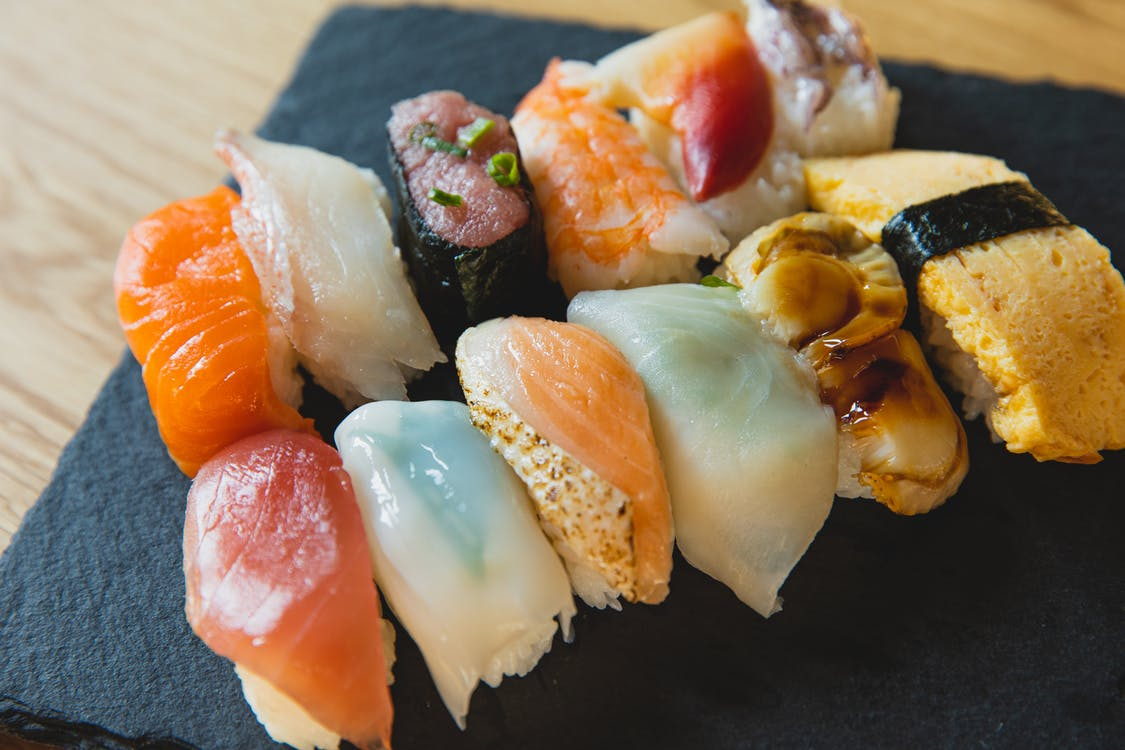 Delicious sushi with raw fish