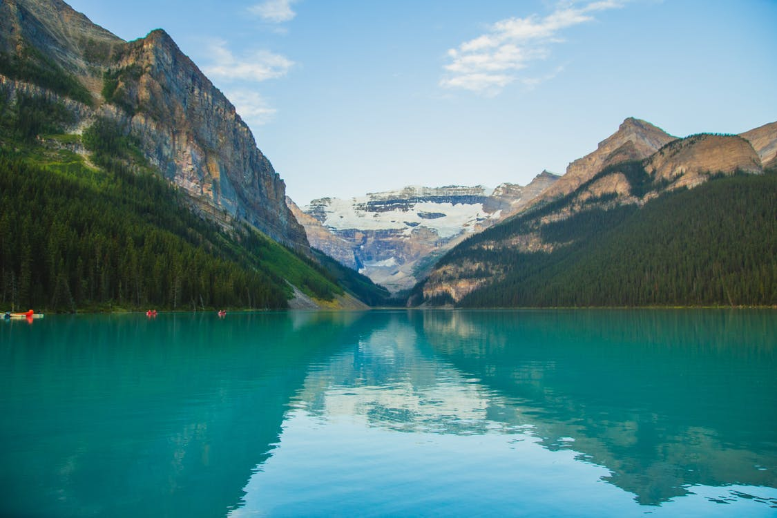 Turquoise lake among mountainous terrain