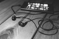 black-and-white, smartphone, music