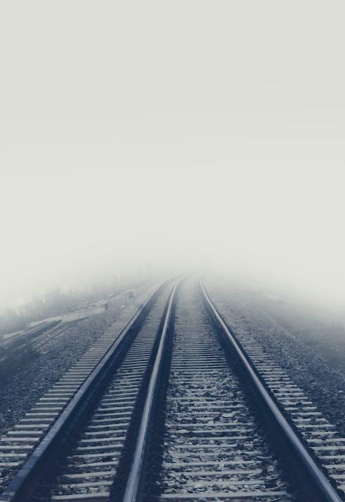 Free stock photo of foggy morning, rail road, rail track