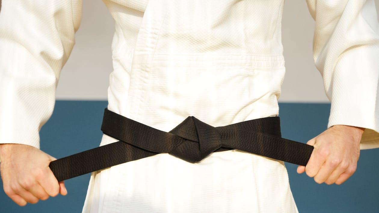 Black Strap on White Textile