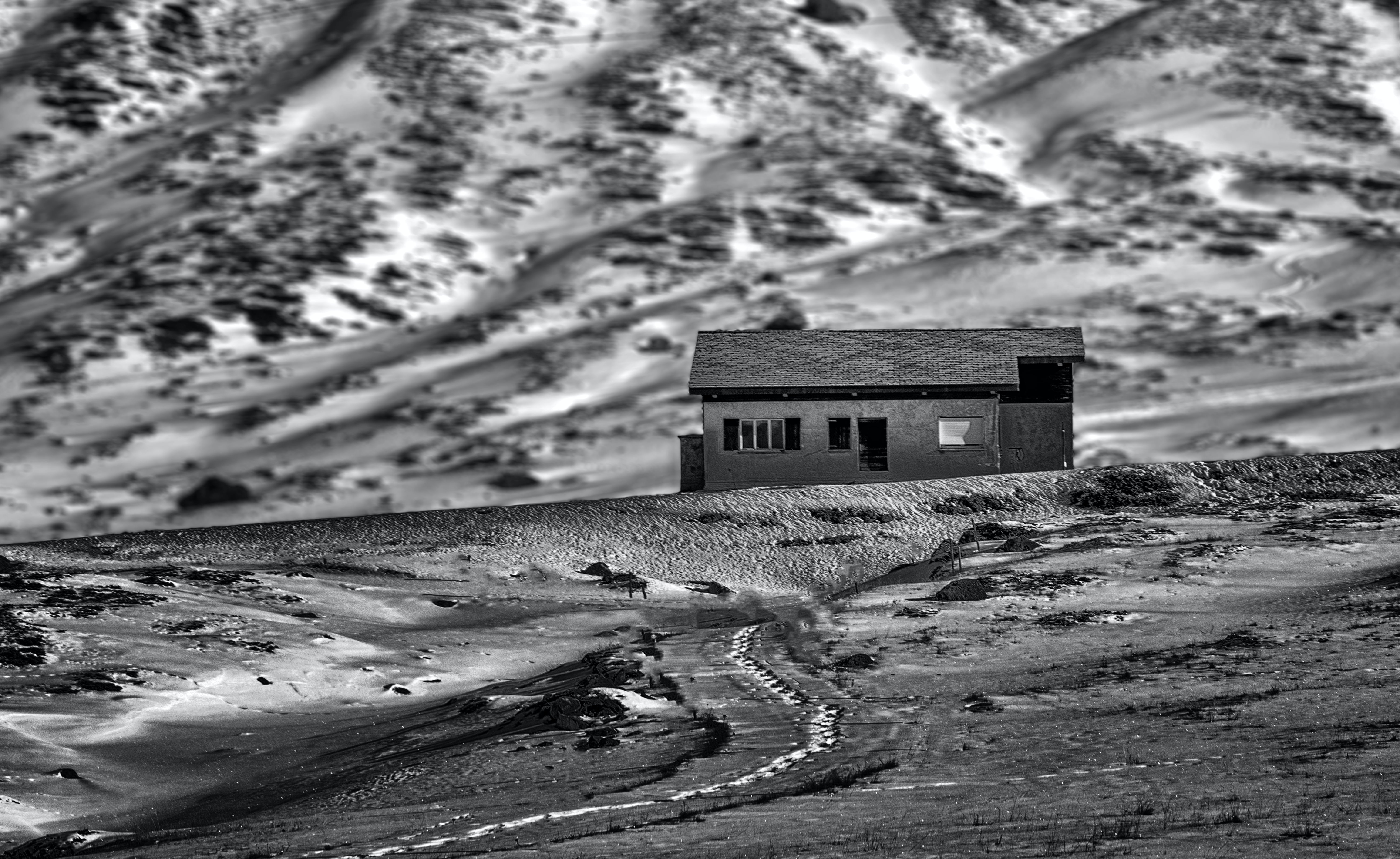 House on Rural Area Grayscale Photo